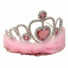 Womens Silver Plastic Tiara With Pink Heart Pink Feather Trim Wedding Headband