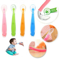 Baby Kids Soft Tip Silicone Easy First Feeding Weaning Heat Sensitive Spoon