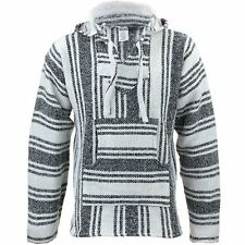 Mexican Baja Jerga natural and black hooded hippie top