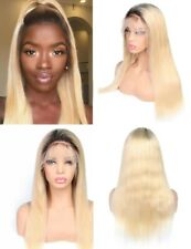 """24"""" Full Lace Wig Long Straight Full Head Ombre Blonde Synthetic Fiber Hair"""