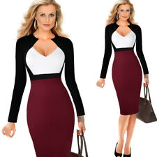 Elegant Women's Office Formal Patchwork Business Work Career Party Pencil Dress