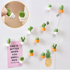 6pcs Cute Succulent Plant Magnet Button Cactus Refrigerator Message Sticker Magn