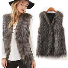 Women Winter Vest Sleeveless Outerwear Coat Faux Fur Casual Waistcoat Jacket CA