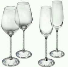 Set of 2 Crystal Filled Stem Glasses Champagne Flutes Wine Glasses