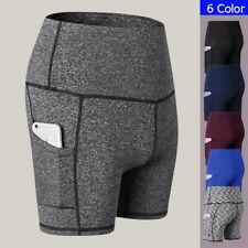 Womens Compression Shorts Fitness Workout Gym Dry Sports Sweatshorts with Pocket