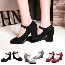 Women Chunky High Heel Classic Ankle Strap Dress Pumps Fashion Mary Jane Shoes