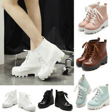 Womens Lace Up Platform Ankle Boots Round Toe Thick Heel Ladies Comfort Booties