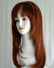 Long Straight Wigs Blond/Auburn/Brown/Black Wig w/Bangs