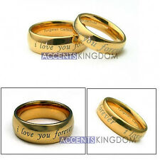 MENS & WOMENS TUNGSTEN GOLD DOME WEDDING BANDS RING SET