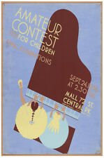 Children Piano Contest POSTER.Stylish Graphics.Vintage Room Decor.411i