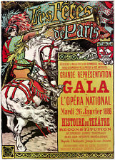 Theater POSTER.Stylish Graphics.Tres Fletes de Paris Gala Decor Art.1841
