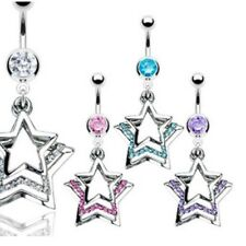 CZ TRIPLE STAR BELLY NAVEL RING PAVED GEMS DANGLE B492 BUTTON PIERCING JEWELRY