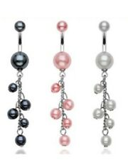 PEARLESCENT BEADS BELLY NAVEL RING CASCADE DANGLE CHAIN BUTTON B535