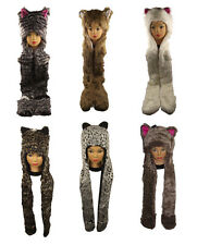 New Luxury Faux Fur  Animal Hooded Hat  Pocket Scarf . One Size.Winter Gift