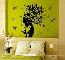 LARGE Beautiful Flower Girl Vinyl Wall Stickers Removable Art Decals Black