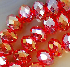 4x6mm Faceted Red Rainbow AB Crystal Beads 98pcs