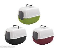 Genuine Ferplast Prima Hooded Cat Loo Toilet Litter Tray With Door & Free Filter