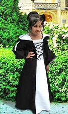 Medieval Maiden Dress for Girls with Hood and Laces, Handmade in Natural Cotton