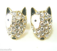 Terrier gold pt french bull dog studs CRYSTAL ear ring-English Terrior pet puppy