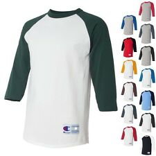 Champion Mens NEW Size S-3XL Tagless Tee ¾ Sleeve Baseball Raglan T-Shirt T137