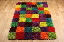 Multi Coloured Festival 1923X Checked Shaggy Rug in 3 Sizes