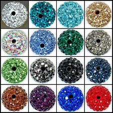 12mm Round Ball Pave Crystal Rhinestone Loose Spacer Beads Jewelry DIY Findings