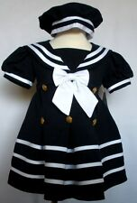 New Baby Girl Toddler Easter Formal Nautical Sailor Dress XL 2T 3T 4T Navy Blue