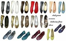 New Womens Ballerina Ballet Flats Shoes Leopard & Solids