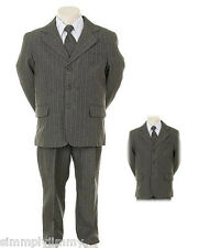 Boys Gray Pin Stripe Formal Dress Tuxedo w/Vest 5-piece Suit Set size S-XL 2T-20