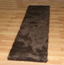 CHOCOLATE FAUX FUR FLOKATI SHAG RUGS SOFTEST PLUSH FIBERS AND NON SLIP BACKING
