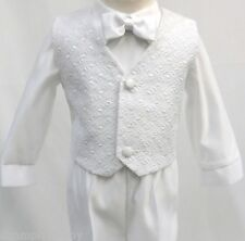 Infant Toddler Boy Christening Baptism White Suit Outfit size S M L XL 2T 3T 4T
