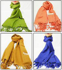 NEW SUPER SOFT PASHMINA SILK CASHMERE SHAWL SCARF WRAPS STOLE NECK WARMER PLAIN