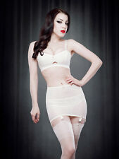 Kiss Me Deadly Vargas vintage style roll on ivory girdle with 6 suspender straps
