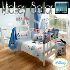 Disney Mickey Mouse Blue Nursery Bedding Curtains Cot Quilt Bumper Cushion Towel