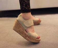 Genuine suede women shoes wood texture thick wedge sole classy velcro sandals