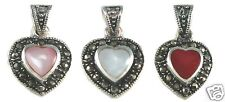 Heart Inlay Marcasite Pendant 925 Sterling Silver Mother of Pearl SHIP USA