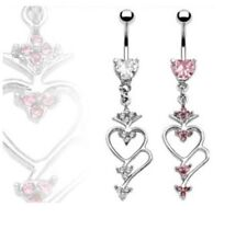 HEART CZ DANGLE BELLY NAVEL RING MULTI GEM HEARTS B459 BUTTON PIERCING JEWELRY