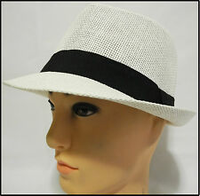 Vintage Woven Natural Straw Fedora/Trilby bucket sun Hat Crushable W black band