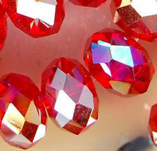 8x12mm Faceted Red Rainbow AB Crystal Beads 36pcs