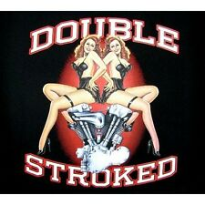Double Stroked Engine With Girls Biker Motorcycle Chopper T Shirt