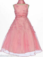 Children Girl & Teen Pageant Wedding Prom Party Formal Pink Dress Sz 10 12 14