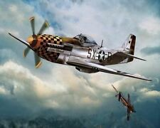 P51 Mustang In Dogfight Art Canvas Poster Print Artwork New
