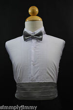 Infant Toddler Boy SILVER Cummerbund Cumberband + Bow tie 4Tuxedo Suit Sz:S-28