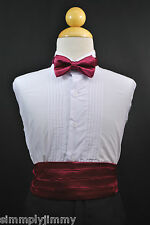 BURGUNDY Cummerbund Cumberband + Bow tie Set for Baby & Boy Tuxedo Suit Sz: S-28