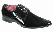 Mens Black Leather Lined Patent Wedding / Formal Shoes Size 6 7 8 9 10 11 12