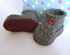 Baby Booties, Handmade Crochet Booties, Baby Boys Bootees 3 Sizes Available