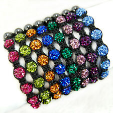 6 Beads 10mm pave sparkle Rhinestone crystal ball Hand-woven bracelet adjustable