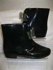 Ladies Unbranded Black Ankle Wellies Wellington Boots with Bow X1184