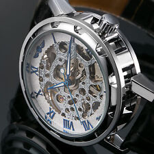 Mens Roman Dial Skeleton Hand-Winding Mechanical Transparent Sport Wrist Watch