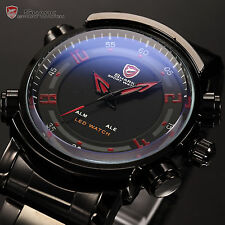 Luxury Men SHARK LED Digital Dual Time Sport Quartz Date Day Army Wrist Watch